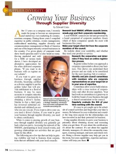"""How to Grow Your Business Through Supplier Diversity: Savoy Professional Magazine Fall 2007"