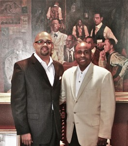 "Edward Cates and Alpha Phi Alpha 33rd General President Herman ""Skip"" Mason"